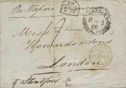 B Sicilia - Da Messina A Londra Dell'8.1.1860 Con Bolli E Tasse Vari - Ottima Qualità - P.V. - Foto - (59373F) - Stamps