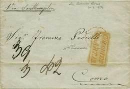 """B Argentina - Da Buenos Aires A Como Del 30.3.1854, """"via Southampton"""", Con Bolli (anche Al Verso) E Tasse Vari - Ottima  - Stamps"""