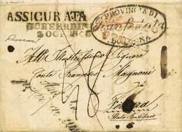 """B Austria - Raccomandata Da Scheerding A Ferrara Del 3.10.1848 - A Bologna Venne Assicurata E Fu Apposto L'ovale """"Provin - Stamps"""