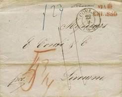 """B Germania - Da Coel A Livorno Del 22.9.1851 Con Bolli Vari E Tasse Sul Fronte - Al Verso In Arrivo """"Livorno 28 Set. 186 - Stamps"""