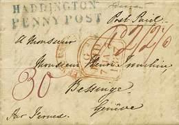 B Gran Bretagna - Da Haddington (Scozia) A Ginevra Del 5.1.1837 Con Bolli E Tasse Vari - Ottima Qualità - P.V. - Foto -  - Stamps