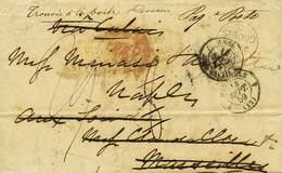 """B Gran Bretagna - Da Stroud (Inghilterra) A Marsiglia Del 10.9.1859 Poi Inoltrata A Napoli Con Il Vapore """"Quirinale"""" - V - Stamps"""