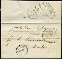 B Grecia - Da Corfù A Malta Del 10.11.1841 Con Bolli Vari Recto/verso + Tassa + Tagli Di Disinfezione - Ottima Qualità - - Stamps