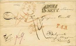 B Olanda - Da Dordrecht A Belgirate S/Lago Maggiore Del 10.11.1841 Con Bolli E Tasse Vari (una Anche Al Verso) - Ottima  - Stamps