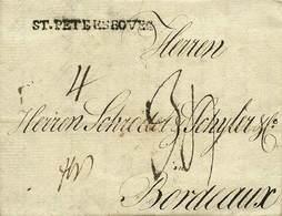 """B Russia - Lettera A Stampa Da S.Pietroburgo A Bordeaux Del 24.3.1788 (dal Testo Interno) Con Tasse Varie + Lineare """"St. - Stamps"""