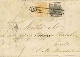 "B Da Mantova A Ponte S.Maria Maddalena Del 15.11.1850 Con C.5+10 N.1+2 - Sassone N.1+2 - Ann. Riquadrato ""Mantova 15.11. - Stamps"