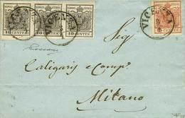B Da Vicenza A Milano Del 3.1.1853 Affr. Per C.45 Con C.10 Nero, Striscia Di 3 + C.15 III Tipo N.2+6 - Sassone N.2+6 - A - Stamps
