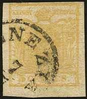 O C.5 Giallo Ocra Stampa Recto/verso (controstampa Dritta) N.13 - Sassone N.13Aa = Euro 2.500,00 - Al Recto Il F.llo è P - Stamps