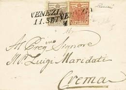 """B Da Venezia A Crema Dell'11.9.(1851?) Con C.30 I Tipo + C.15 Côtelé I Tipo N.7+14 - Sassone N.7+14 - Ann. SI """"Venezia 1 - Stamps"""