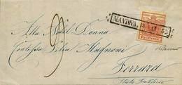 """B Da Mantova A Ferrara Del 14.11.1853 Con C.15 Rosso I Tipo N.3 - Sassone N.3 - Ann. Riquadrato """"Mantova 14-11/53"""" Con A - Stamps"""