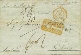 B Da Buenos Aires (Argentina) A Como Del 28.1.1854 Con Tasse Pagate In Moneta Come Da Conteggio Indicato Sulla Lettera - - Stamps