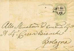 """B Da Massa A Bologna Del 21.8.1855 Con Marca Da Bollo C.15 Stampa Tipografica N.3MB - Sassone N.3 - Ann. SI """"Massa 21 Ag - Stamps"""