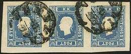 """O F.llo Per Giornali S.1,05 Azzurro N.7FG, Striscia Di 3 Con Margini Molto Ampi - Sassone N.8 - Ann. P.c. """"Venezia 10/12 - Stamps"""