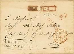 """B Da Milano A Parigi Del 29.3.1858 Con Ann. Riquadrato """"Milano 29-3"""" Con A Lato """"P.D."""" + """"Franca"""" + D.c. Di Transito Tut - Stamps"""