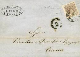 """B Da Milano A Verona Del 5.3.1858 Con C.30 Falso Dell'epoca Realizzato A Milano II Tipo (sottotipo """"B"""") Bruno Rossastro  - Stamps"""
