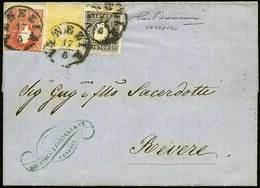 B Lettera Completa Del Testo Interno Da Venezia A Revere Del 17.8.1860 Affr. Per S.10 Con S.5+2+3 Tutti II Tipo N.28+29+ - Stamps