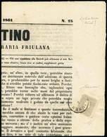 """G Pagina Frontale Del """"Bullettino"""" Dell'Associazione Agraria Friulana Del 2.7.1861 Con F.llo Per Giornali S.1,05 Lilla G - Stamps"""