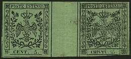 * C.5 Verde Con Punto Dopo La Cifra N.13DS - Sassone N.7 - Coppia Con Interspazio (con Consueta Leggera Piega) Con 1 Es. - Stamps