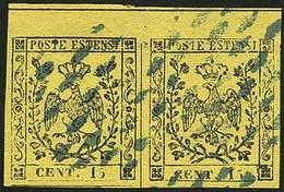 O C.15 Giallo Vivo N.5, Coppia Con Linea Di Interspazio In Alto - Sassone N.3a - Ann. A Piccoli Rombi Di Modena In Azzur - Stamps
