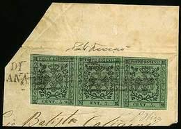 """F Frammento Di Lettera Da Carrara? Con C.5 Verde Con Punto Dopo La Cifra, Striscia Di 3 - Il Primo Es. Con Varietà """"spaz - Stamps"""