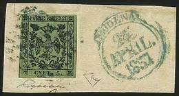 """F C.5 Verde Oliva Con Errore Ben Visibile """"CNET. 5."""" N.14Eb - Sassone N.8f - Ann. A Piccoli Rombi Con A Lato Bollo A Cap - Stamps"""