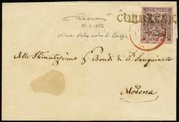 B Da Correggio A Modena Del 18.6.1852 Con C.10 Rosa Vivo N.2 - Sassone N.2a - Ann. D.c. Di Modena In Rosso + Lineare SD  - Stamps