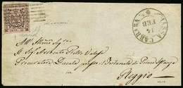 B Frontespizio Da Massa Carrara A Reggio Del 14.2.(1853?) Con C.10 Rosa Senza Punto Dopo La Cifra E Con Varietà Di Compo - Stamps