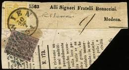 """F Frammento Di Giornale Con Tagliandino Di Indirizzo Per Modena Con Austria Kr.1 Giallo Unificato N.1, Ann. """"Wien 30/7""""  - Stamps"""