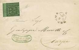 B Da Modena A Carpi Del 3.12.1853 Con C.5 Verde Senza Punto Dopo La Cifra N.1, Con Grandi Margini E BDF In Alto - Sasson - Stamps