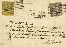 B Da Reggio A Milano Del 17.8.1853 Affr. Per C.25 Con C.10 Rosa Senza Punto Dopo La Cifra + C.15 Giallo Con Errore Di Co - Stamps