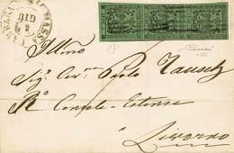 B Da Massa Carrara A Livorno Dell'8.6.1855 Affr. Per C.15 Con C.5 Verde Senza Punto Dopo La Cifra N.1, Striscia Vertical - Stamps