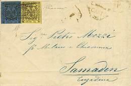 B Da Carpi A Samaden (Svizzera) Del 30.8.1855 Affr. Per C.55 Con C.15 Giallo + C.40 Azzurro Scuro Entrambi Senza Punto D - Stamps