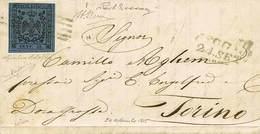 B Da Reggio A Torino Del 24.9.1855 Con C.40 Azzurro Scuro Con Punto Dopo La Cifra Con Errore Di Composizione Tipografica - Stamps