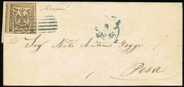 B Da Modena A Pisa Del 9.1.1856 Con C.25 Camoscio N.8, Con 4 Linee Di Contorno - Sassone N.4a - Ann. A 6 Sbarre Con A La - Stamps