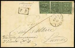 B Da Carrara A Livorno Del 10.8.1856 (dal Testo Interno) Affr. Per C.15 Con C.5 Verde Oliva (singolo + Coppia), Il Primo - Stamps