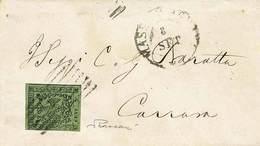 """B Piccola Busta Da Massa Carrara A Carrara Dell'8.9.? Con C.5 Verde Oliva Con Errore Di Composizione Tipografica """"punto  - Stamps"""