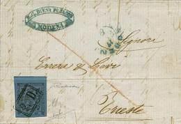 B Da Modena A Trieste Del 17.2.1856 Con C.40 Azzurro Scuro Con Punto Dopo La Cifra N.17, BDF In Alto - Sassone N.10 - An - Stamps