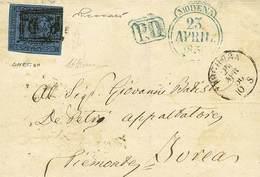 B Da Modena A Ivrea Del 23.4.1856 Con C.40 Azzurro Scuro Con Punto Dopo La Cifra E Con Errore Di Composizione Tipografic - Stamps