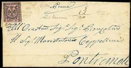 B Da Fivizzano A Pontremoli Del 28.3.1857 Con C.10 Rosa Senza Punto Dopo La Cifra Con Errore Di Composizione Tipografica - Stamps