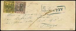 """B Da Aulla A Firenze Del (8.6.1858) Con C.15 Giallo Con Errore Di Composizione Tipografica """"CETN 15."""" + C.10 Rosa Con Pu - Stamps"""