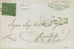B Da Reggio A Mirandola Del 25.2.1858 Con C.5 Verde Con Punto Dopo La Cifra N.13, Con 4 Linee Di Contorno - Sassone N.7  - Stamps