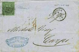 B Da Modena A Carpi Del 6.6.1859 Con C.5 Verde Senza Punto Dopo La Cifra N.1 - Sassone N.1 - Ann. A 6 Sbarre Con A Lato  - Stamps