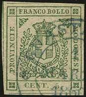 O G.Provvisorio - C.5 Verde N.22 - Sassone 2018 N.12 = Euro 1.100,00+ - Ann. D.c. Di Guastalla Azzurro - Ottima Qualità  - Stamps