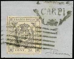 """F G.Provvisorio - C.20 Azzurro Ardesia Chiaro I Tir. N.29 - Ann. A 6 Sbarre Con A Lato """"Carpi"""" In Ornato - Ottima Qualit - Stamps"""