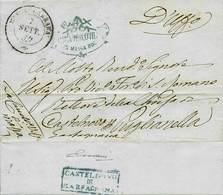 """B G.Provvisorio - Da Massa Carrara A Castelnovo Di Garfagnana Del 7.9.1859 - Ann. In Cartella """"Castelnovo Di Garfagnana"""" - Stamps"""