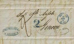 """B Da Reggio A Genova Dell'11.12.1859 - Ann. P.c. """"Reggio 11 Dic. 59"""" + Tassa A Tampone """"2"""" Entrambi Azzurri + """"2"""" Manosc - Stamps"""