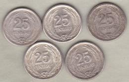 EL SALVADOR. 5 Pièces De 25 Centavos 1953. Argent .KM# 137 - El Salvador