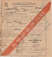 Chiasso. 1931. FERROVIE DELLO STATO, BOLLETTINO DI CONSEGNA - Ferrovie
