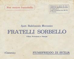 Fiumefreddo Di Sicilia.  Lettera Pubbliciaria FRATELLI SORBELLO. - Italia