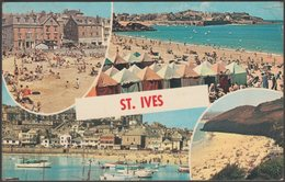 Multiview, St Ives, Cornwall, 1967 - Plastichrome Postcard - St.Ives